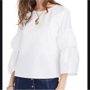Madewell   White Tiered Sleeve Poplin Top